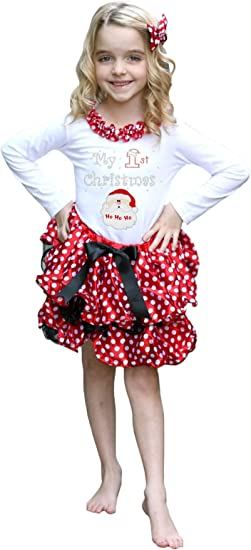 Petitebella White Polka Dots Red Shirt Petal Skirt Xmas Outfit Set Nb-8y