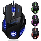 AFUNTA Zelotes Ergonomic 7200 DPI LED Optical Wired Gaming Mouse Mice 7 Buttons Compatible Mac Pro Gamer PC Laptop…