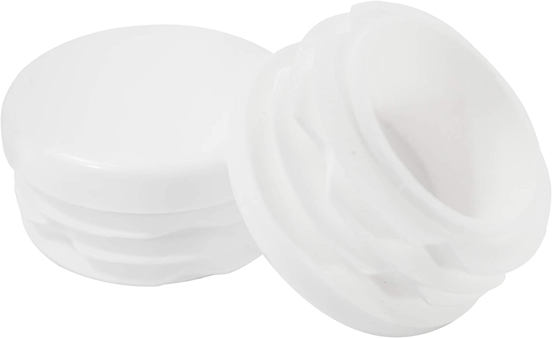 Prescott Plastics 1 Inch Round White Plastic Plug, Tubing End Cap, Durable Chair Glide (8)