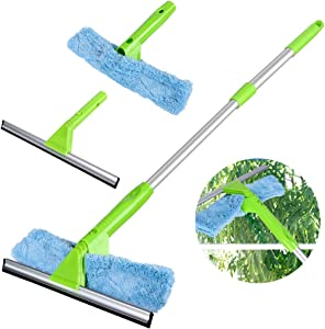 Window Squeegee Cleaner with Microfiber Scrubber, 3 in 1 Professional Detachable Washing Tools, Telescopic Cleaning Kit with Extension Pole for Window Car Cleaning