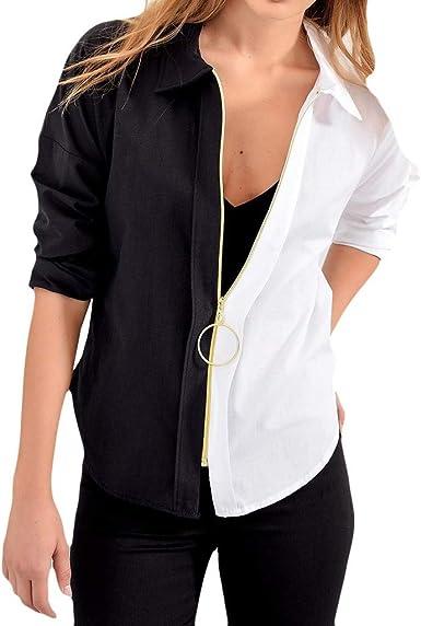 Heetey - Sudadera con Capucha para Mujer, Camisa Larga con Cremallera, Chaqueta de Punto, Blusa con Blusa de Color Bloque, Blusa con Cuello Alto: Amazon.es: Ropa y accesorios