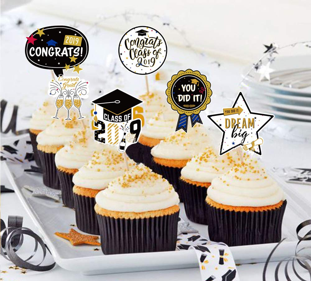 48 Pcs Graduation Cupcake Toppers 2019 Cake Decoration Party Decor