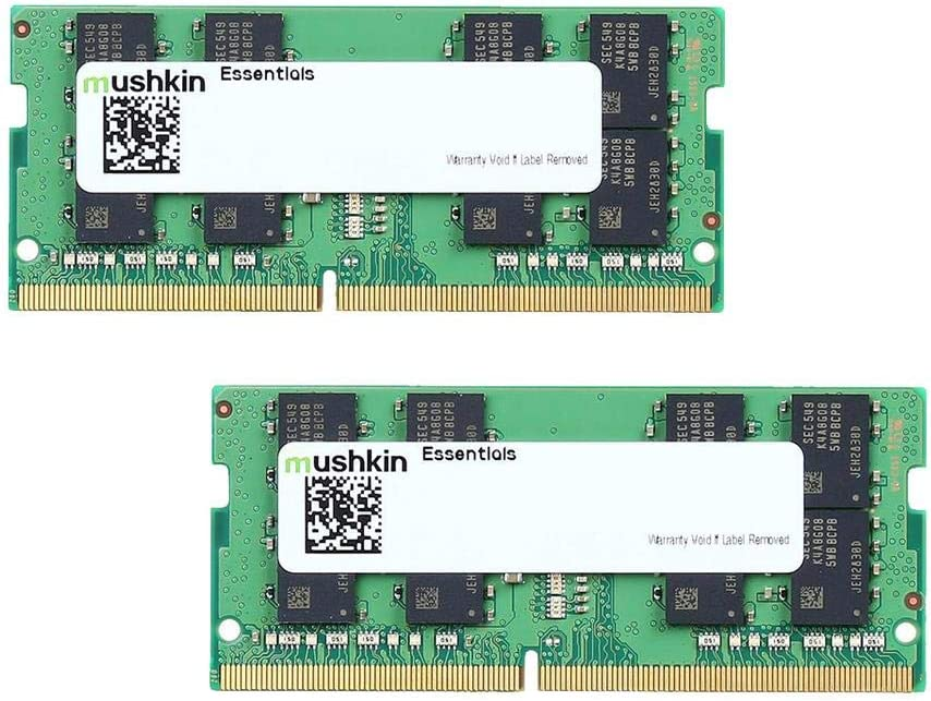 Mushkin Essentials – DDR4 Laptop DRAM – 32GB (2x16GB) SODIMM Memory Kit – 2666MHz (PC4-21300) CL-19 – 260-pin 1.2V Notebook RAM – Dual-Channel – Low-Voltage – (MES4S266KF16GX2)