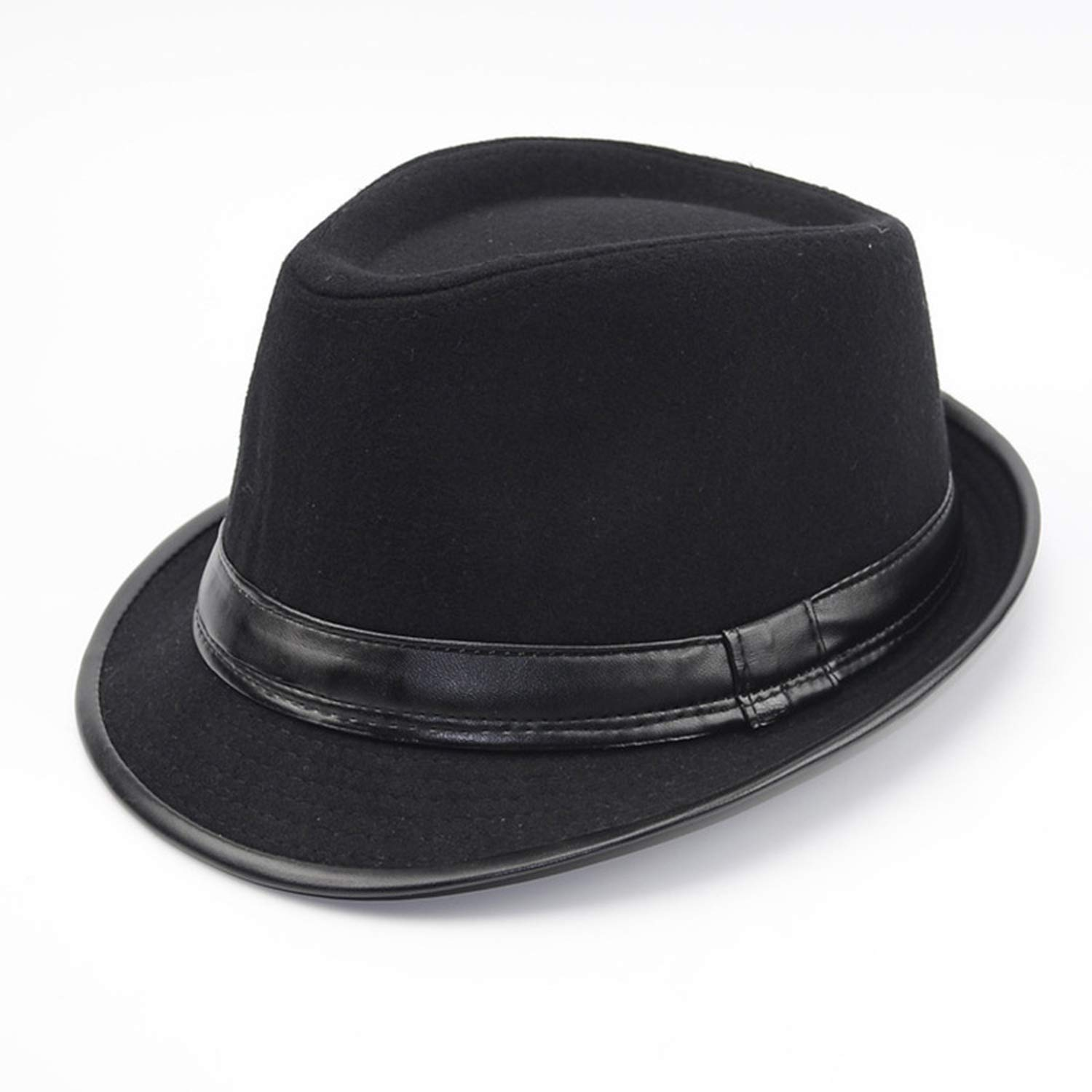 Autumn Winter Men Wool Felt Fedoras Hat for Men Leather Flat top Jazz Caps Wide Brim Men Fedora Hats