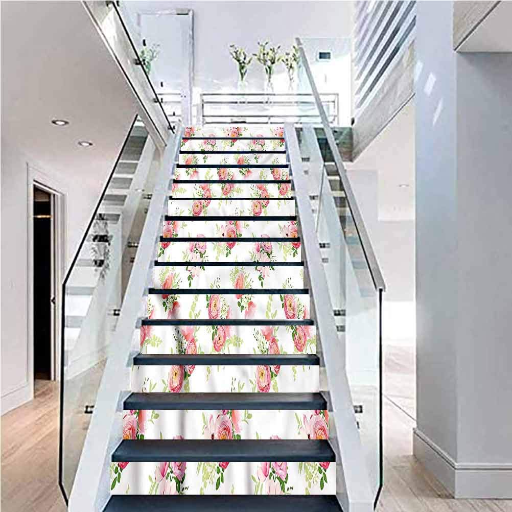 3D Self-Adhesive Stair Stickers, Shabby Chic Ranunculus Magnolia, for Stair Riser Decals Home Decor, W39.3 x H7.08 Inch x13PCS