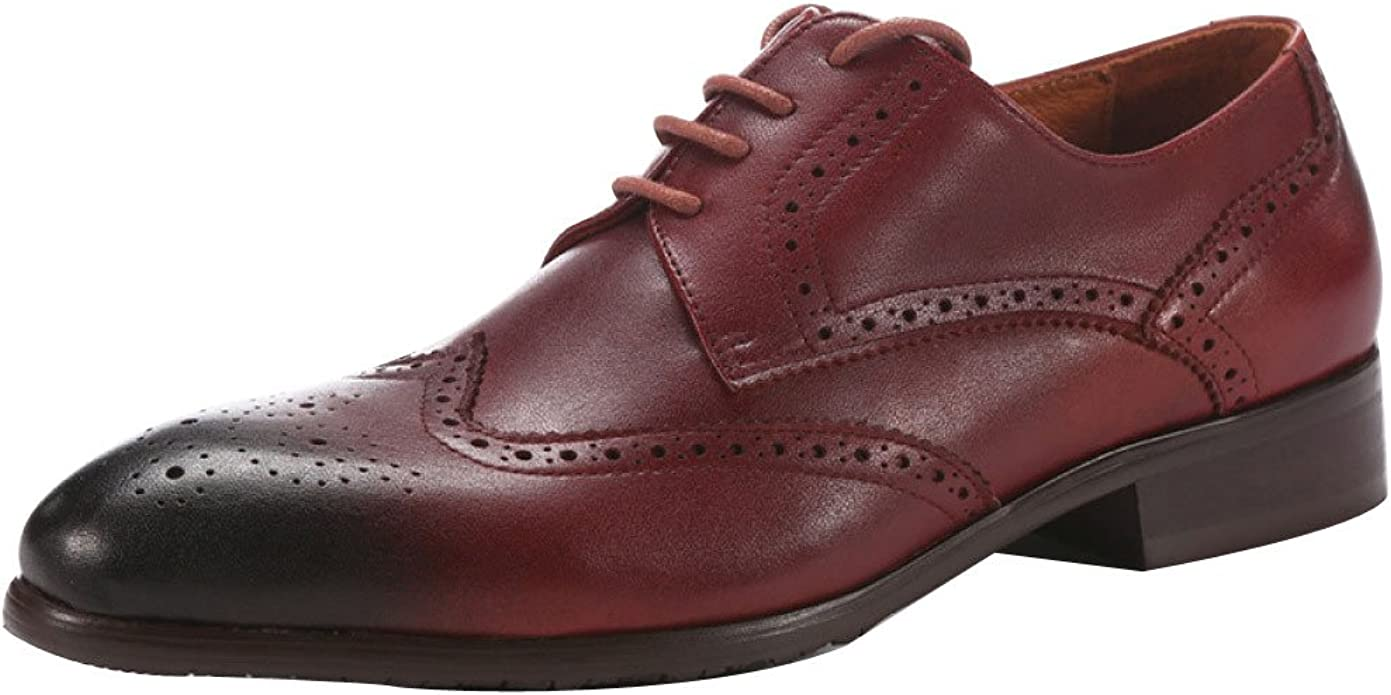 DHFUD Men's Business Dress Shoes Carved Lace up Shoes,Red 43