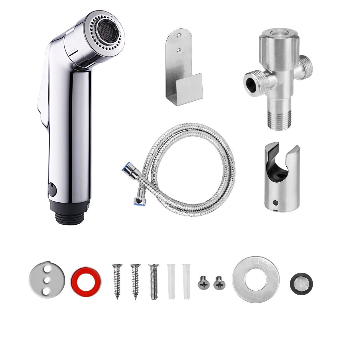 AOZBZ 2 Modes Toilet Hand Held Bidet Sprayer Kit, Shower Bidet Tap Shattaf Spray Faucet Cloth Diaper Cleaning with Hose, G1/2 Tee Angle Valve, Bracket Holder, Holder Hook
