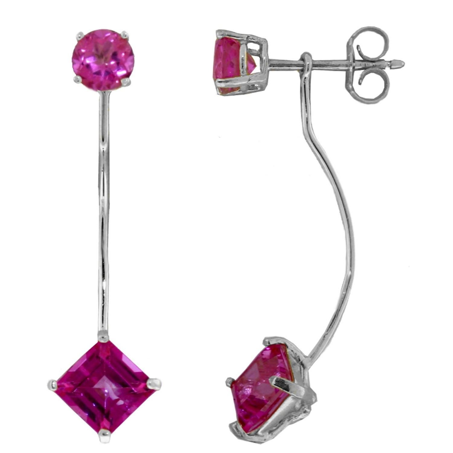 ALARRI 4.15 Carat 14K Solid White Gold Point Of Ecstasy Pink Topaz Earrings