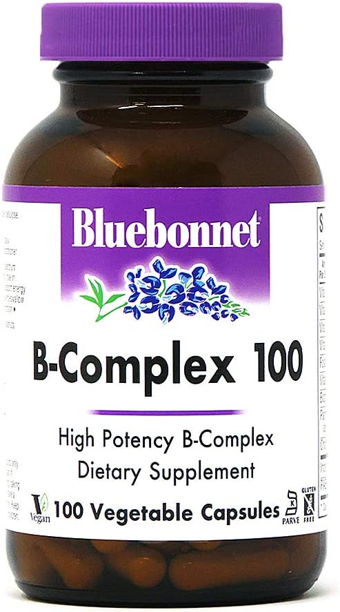 Bluebonnet Nutrition B Complex 100 Vegetable Capsules, Complete Full Spectrum, Vitamin B6, B12, Biotin, Folate, Vegan, Vegetarian, Gluten Free, Soy Free, Milk Free, Kosher, 100 Vegetable Capsules