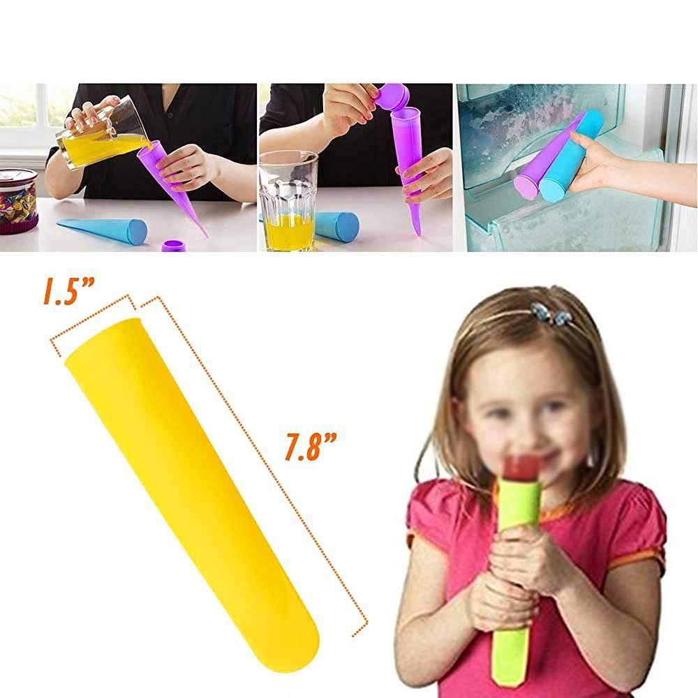TOMYEER Set De 10 Moule /À Glace en Silicone Popsicle Mold