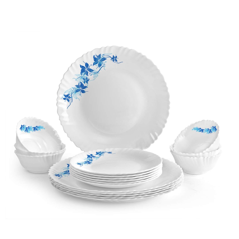 Cello Blue Swirl Opalware Dinner Set, 18-Pieces, White
