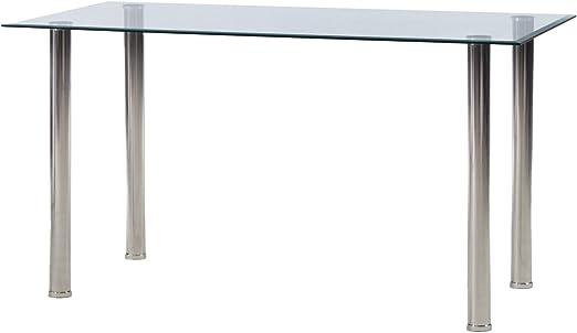 FURNISH 1 Mesa de Comedor 140 x 70 x 75 cm Cristal Transparente ...