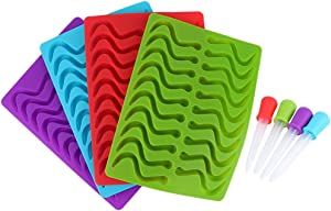 Gummy Worm Silicone Molds, Set of 4 Silicone Candy Chocolate Molds Ice Cube Trays with 4 Matching Droppers