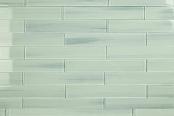 Light Blue Off White Vesper Glass Subway Tile For Kitchen Backsplash