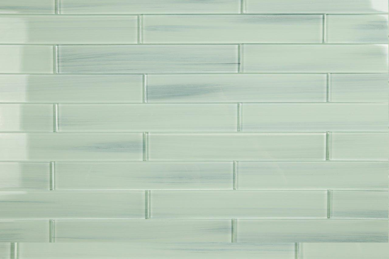 Light Blue Off White Vesper Glass Subway Tile for Kitchen Backsplash or Bathroom from Bodesi, 1x12 (10 Sq Ft Box)