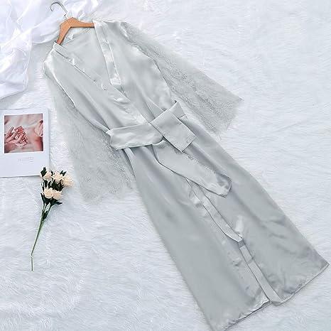Women Lace Chemise Satin Nightdress Lingerie Sleepwear Sexy Long Robe at Amazon Womens Clothing store: