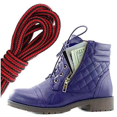 Dailyshoes Donna Militare Allacciatura Fibbia Stivali Da Combattimento Alla Caviglia Alta Tasca Esclusiva Per Carte Di Credito, Nero Rosso Viola Pu