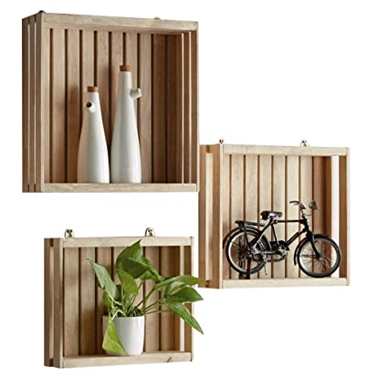 Shelf Floating Shelves Wall Multi Layer Display Stand Household Solid Wood Square Parent