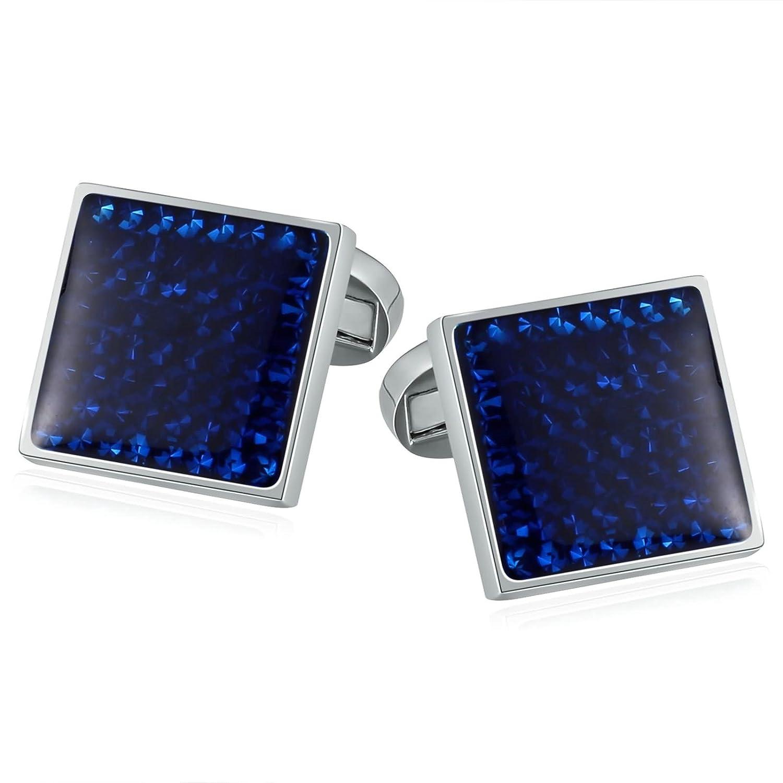 2種類( 6スタイル)ステンレススチールジュエリーメンズカフスボタン/タイクリップノベルティXmasギフトボックスAooaz B077XYHXTB Blue-Cufflinks Blue-Cufflinks
