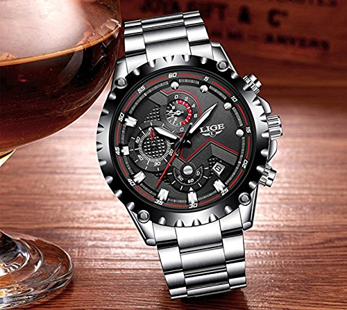 Watch Men Sport Quartz Clock Mens Watches Top Brand Luxury Full Steel Business Waterproof Watch by LIGE (Image #1)