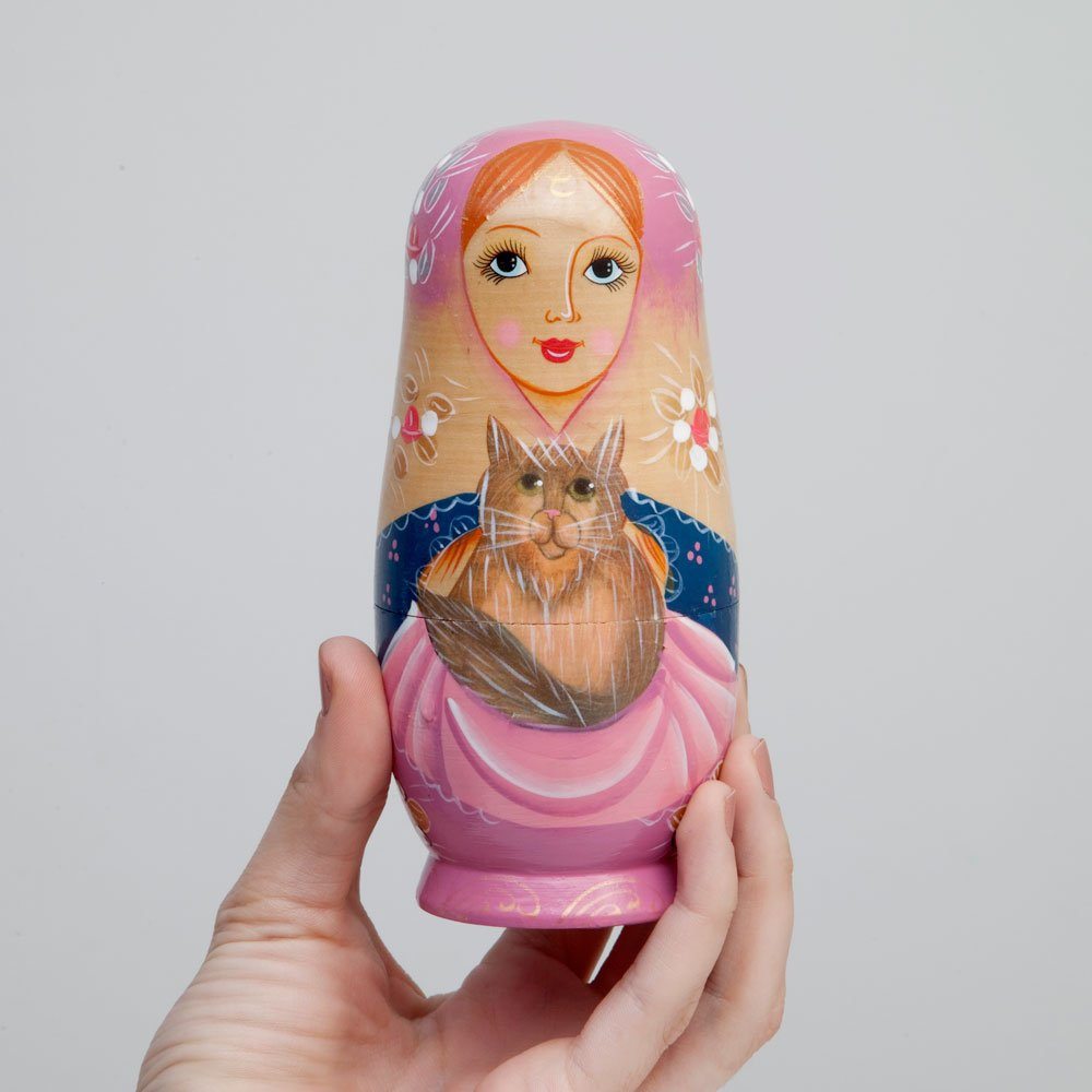 The Cat Ladies-Hand Painted Hand Made Wooden Nesting Dolls Matryoshka Figurines 10 Pc Russian Nesting Dolls Set of 10 Dolls From 7.5 Tall Bits and Pieces