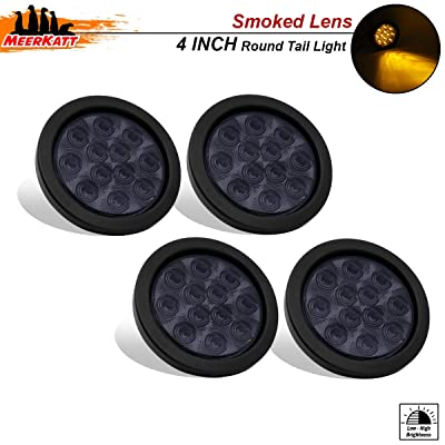 Meerkatt (Pack of 4) 4 Inch Round Smoked Lens Amber 12 LED Truck Trailer Lorry Pickup Van Bus Caravan Turn Signal Tail Side Marker Lights Flush Mount Sealed Grommet w/Plug 12v DC F3 Piranha Bulb GA12: Automotive
