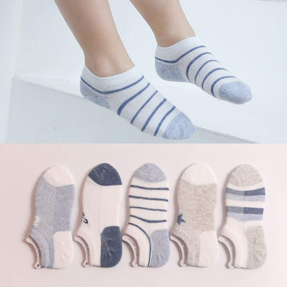 CHUNG Toddler Little Boys Girls Thin Cotton Ankle Socks 10 Pack Low Cut No SHow for Sandals Summer1-9Y