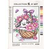 RTO Puppy in a Basket Flowers D'Art Needlepoint Printed Tapestry Canvas, 30 x 40cm