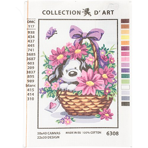 RTO Puppy in a Basket Flowers D'Art Needlepoint Printed Tapestry Canvas, 30 x 40cm by RTO