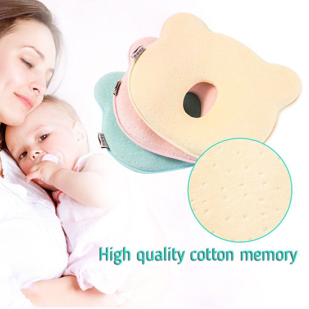 Oceanheart Almohada Bebé Cojin de Cabeza Cuna, para Prevención del síndrome de cabeza plana para su bebé recién nacido