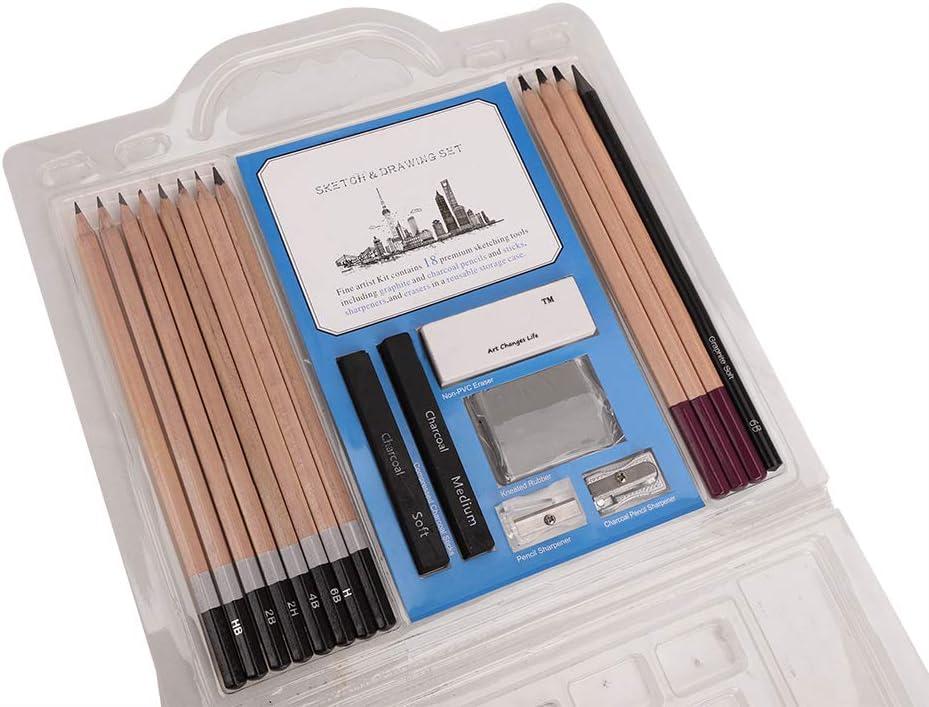 tudiants Tige Charbon Bois Jeu Crayon pour D/éButants 18 Pi/èces Crayons de Dessin et Kit de Croquis Professionnels Crayon Hexagonal B/ûChe D/ébutants Caoutchouc Plastique pour Artistes