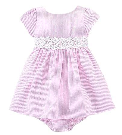 24e38b135137 Amazon.com   Ralph Lauren Polo Baby Girls Pink Lace Trim Seersucker Dress  (24 Months)   Baby