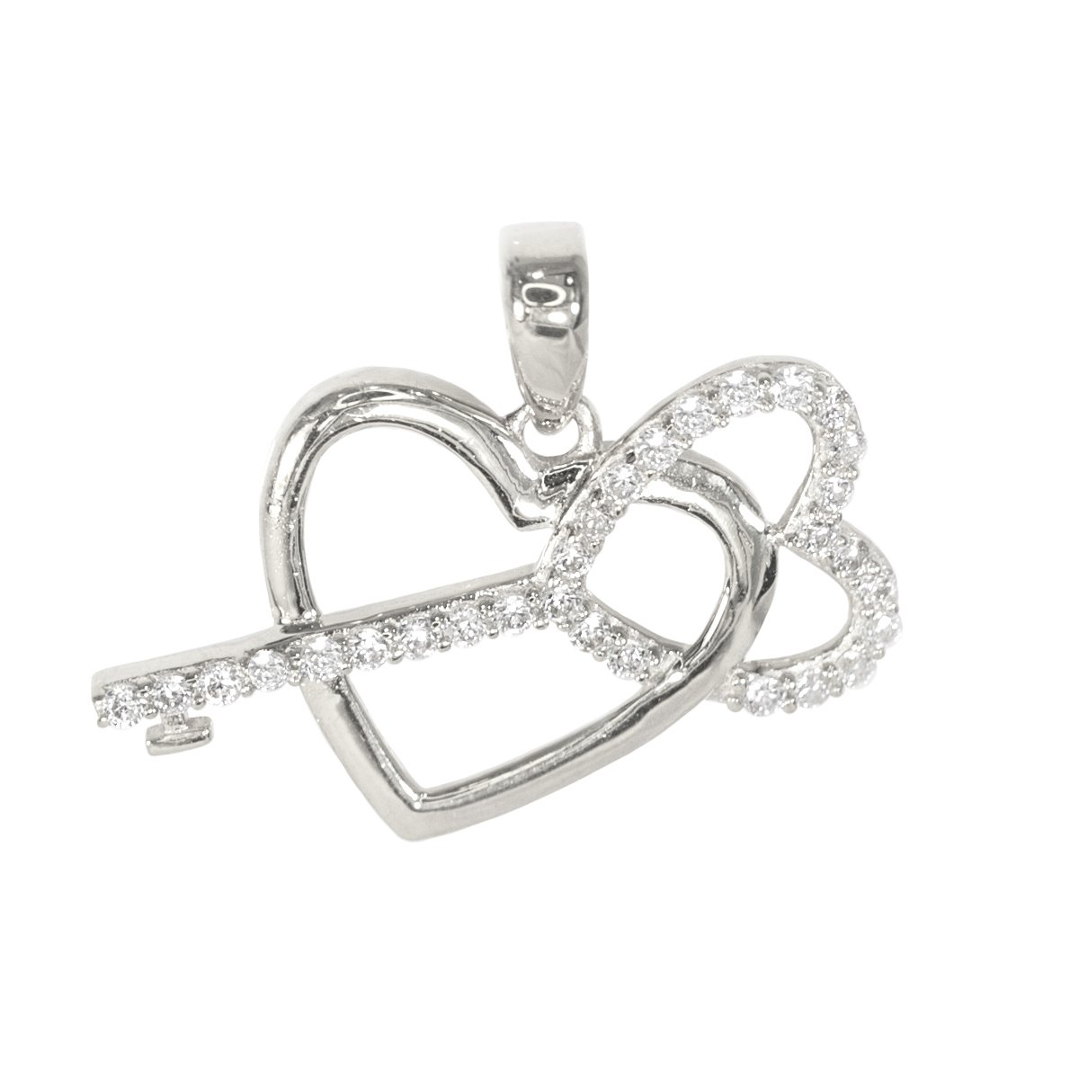 IcedJewels 0.55 cttw Round CZ 14K White Gold Key to my Heart Love Relationship Promise Choker Necklace Charm