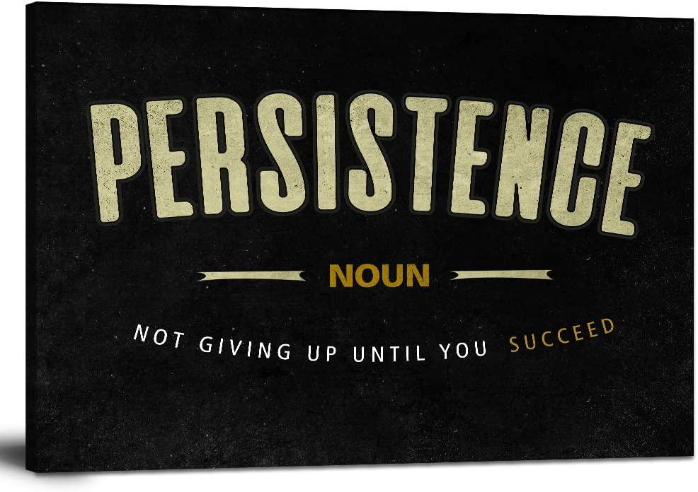 """Motto Inspirational Wall Art Motivational Canvas Painting Persistance Noun Pictures Inspiring Entrepreneur Quotes Posters Prints Artwork Home Office Decorations Framed Ready to Hang (12""""Hx18""""W)"""