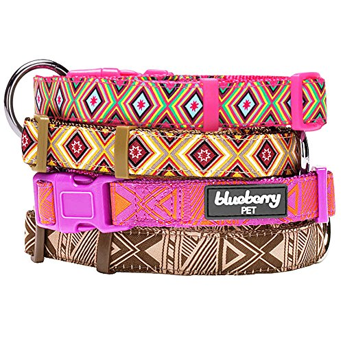 "Blueberry Pet African Tribes Inspired Colorful Geometry Dog Collar in Cool Shades, Neck 12""-16"", Small, Collars for Dogs"