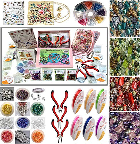Adults Deluxe Jewelry Making Beads Mix Pliers Findings Starter Kit Gift Set - Maker Jewelry Supplies
