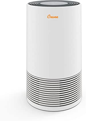 Crane Tower Air Purifier with True HEPA Filter EE-5068, Germicidal UV Light, Premium, 300 Sq Feet Coverage, Timer Function, Sleep Mode, Washable Particle Filter, White