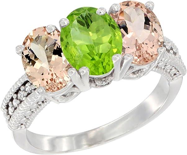 10 Karat White Gold Genuine Peridot Oval Gemstone Baby Ring