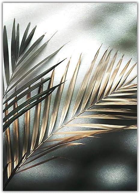 Golden Palm Leaf Plant Canvas Print Botanical Nordic Wall Art Posters Home Decor