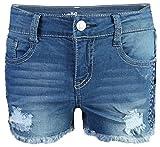 WallFlower Girls Soft Strech Denim Shorts, Medium Wash w/Frayed Pannel, Size 10