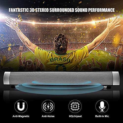 Sound Bar Wired and Wireless Connection 3D Surround Sound Speaker Bar Bluetooth Home Theater Silver with 2.0 Channel Remote Control Dual Connection Methods for TV PC Smartphones Music and Movie by YooGui (Image #4)