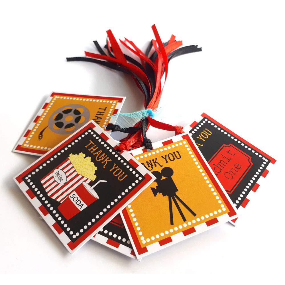 Amazon Com Movie Night Thank You Favor Tags Cinema Theater Film Party Decoration Gift Tags Set Of 12 Handmade