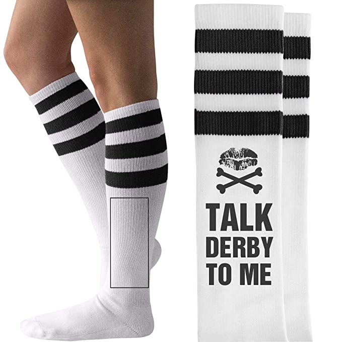 653e7d7cd4410 Talk Roller Derby To Me Socks: Unisex Striped Knee-High Socks at Amazon  Women's Clothing store:
