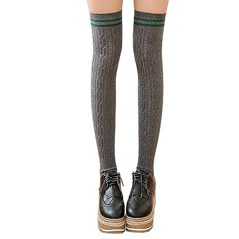 742b2e2f40ccc XY Fancy Faddish Women Vertical Stripes Twist Thigh High Stockings Over  Knee Dark Grey: Amazon.ca: Luggage & Bags