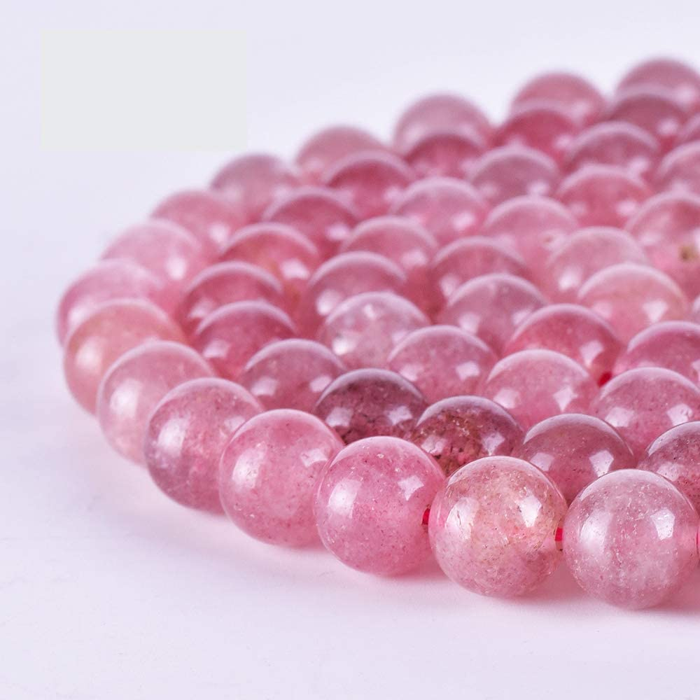 /& 10MM Size available,Round Beads,Smooth Beads,Jewelry Making,Polished Strawberry Quartzs Beads Strawberry Quartzs Beads AAA Quality 6,8