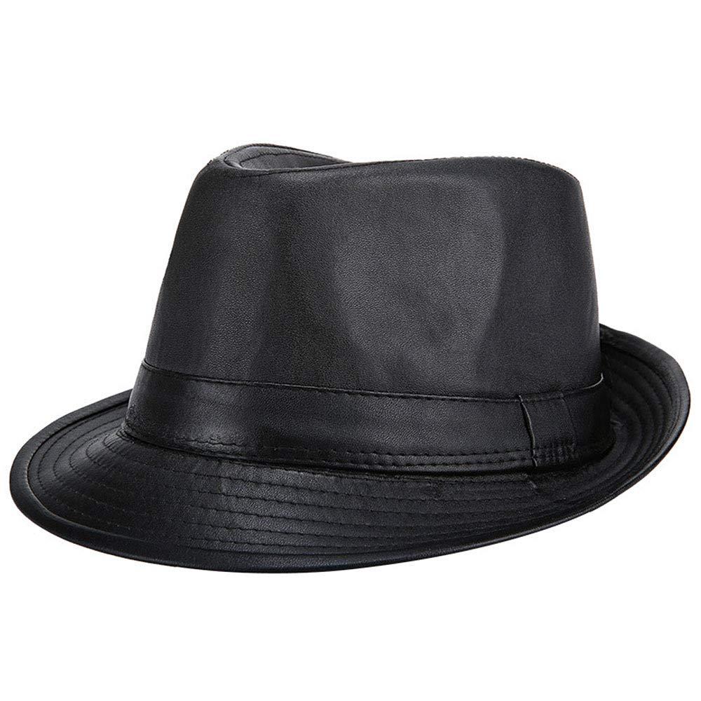 OLIS,Retro Cappello In Pelle Uomo Jazz Fedora Panama Gangster Berretto Invernale