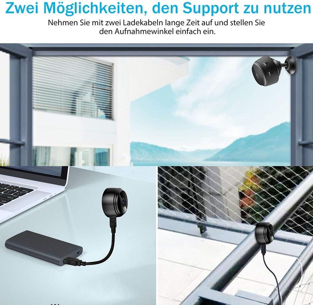 euskDE Wifi /Überwachungskamera Full HD 1080P WLAN Akku Kleine Nanny Cam mit Bewegungsmelder und Automatische Infrarot Nachtsicht Mini Kamera Mikro Wireless Innen und Aussen IP Kamera