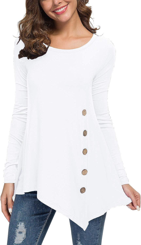 Jouica Women's Long Sleeve Scoop Neck Button Side Asymmetrical Tunic Top
