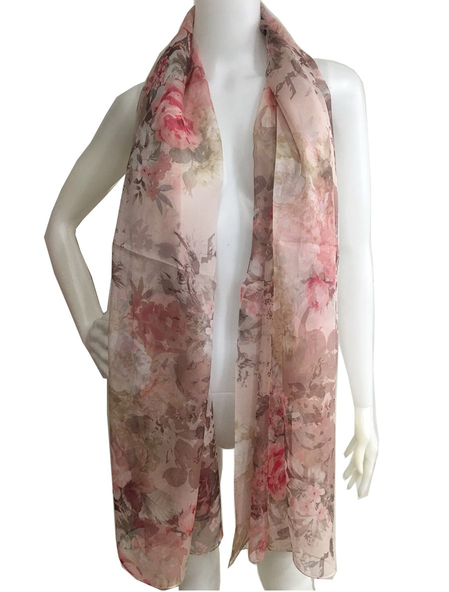#SS10188079 Film Rose, Silk Long Scarf, Designed Stole of Silk Shiffon, Gift Cased (Pink) Tohyama Co. Ltd.