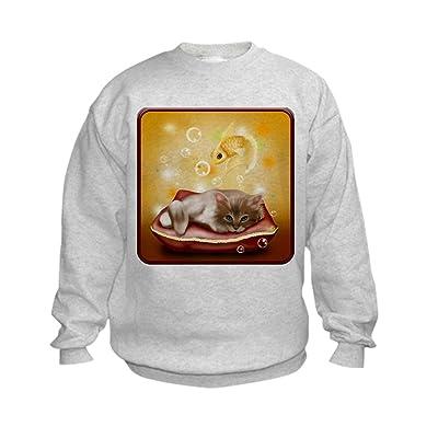 Truly Teague Kids Sweatshirt Kitten With Goldfish Dreams - Large (14-16)
